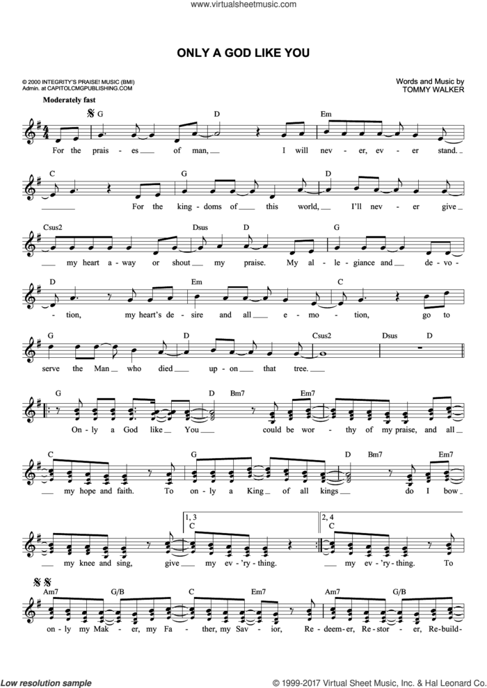 Only A God Like You sheet music for voice and other instruments (fake book) by Tommy Walker, intermediate skill level