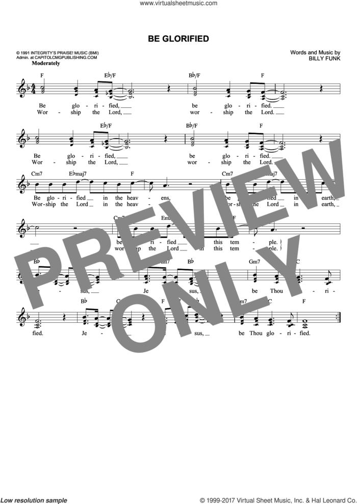Be Glorified sheet music for voice and other instruments (fake book) by Billy Funk, intermediate skill level