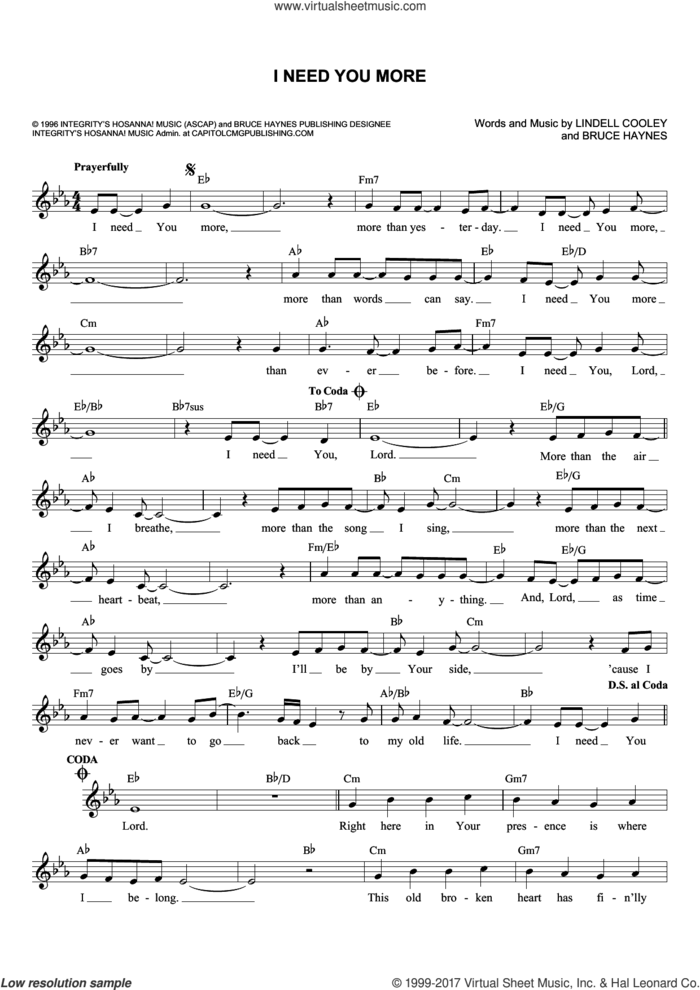 I Need You More sheet music for voice and other instruments (fake book) by Bruce Haynes and Lindell Cooley, intermediate skill level