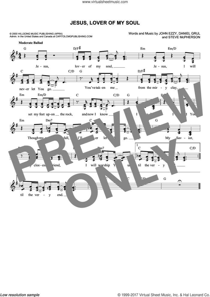 Jesus, Lover Of My Soul sheet music for voice and other instruments (fake book) by Daniel Grul, John Ezzy and Stephen McPherson, intermediate skill level