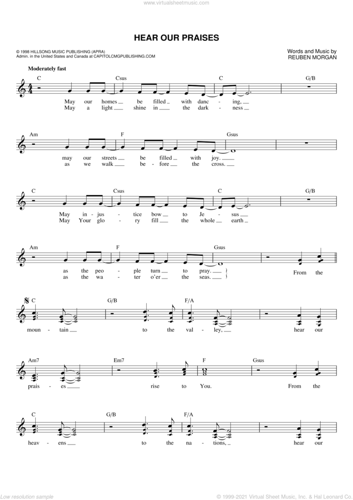 Hear Our Praises sheet music for voice and other instruments (fake book) by Reuben Morgan, intermediate skill level
