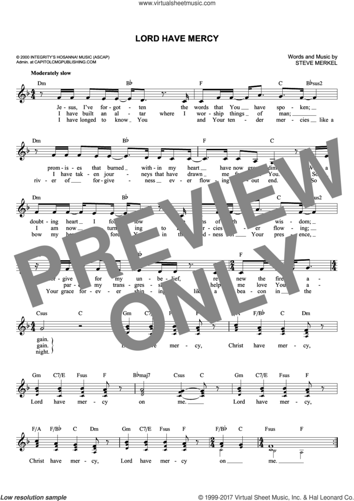 Lord Have Mercy sheet music for voice and other instruments (fake book) by Steve Merkel, intermediate skill level