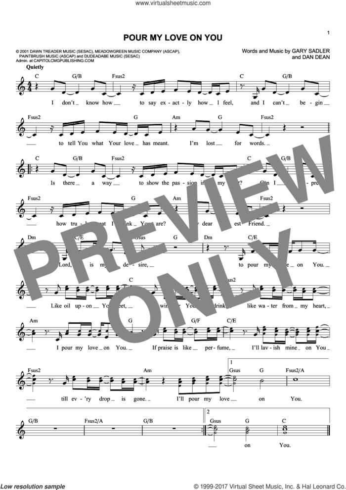 Pour My Love On You sheet music for voice and other instruments (fake book) by Phillips, Craig and Dean, Dan Dean and Gary Sadler, intermediate skill level