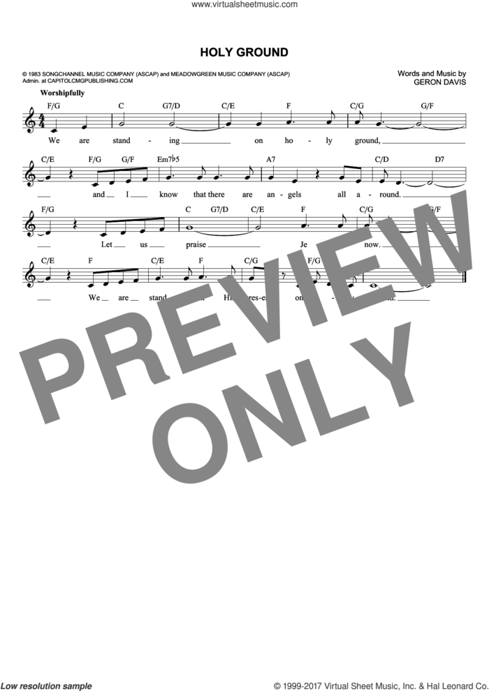 Holy Ground sheet music for voice and other instruments (fake book) by Barbra Streisand and Geron Davis, wedding score, intermediate skill level