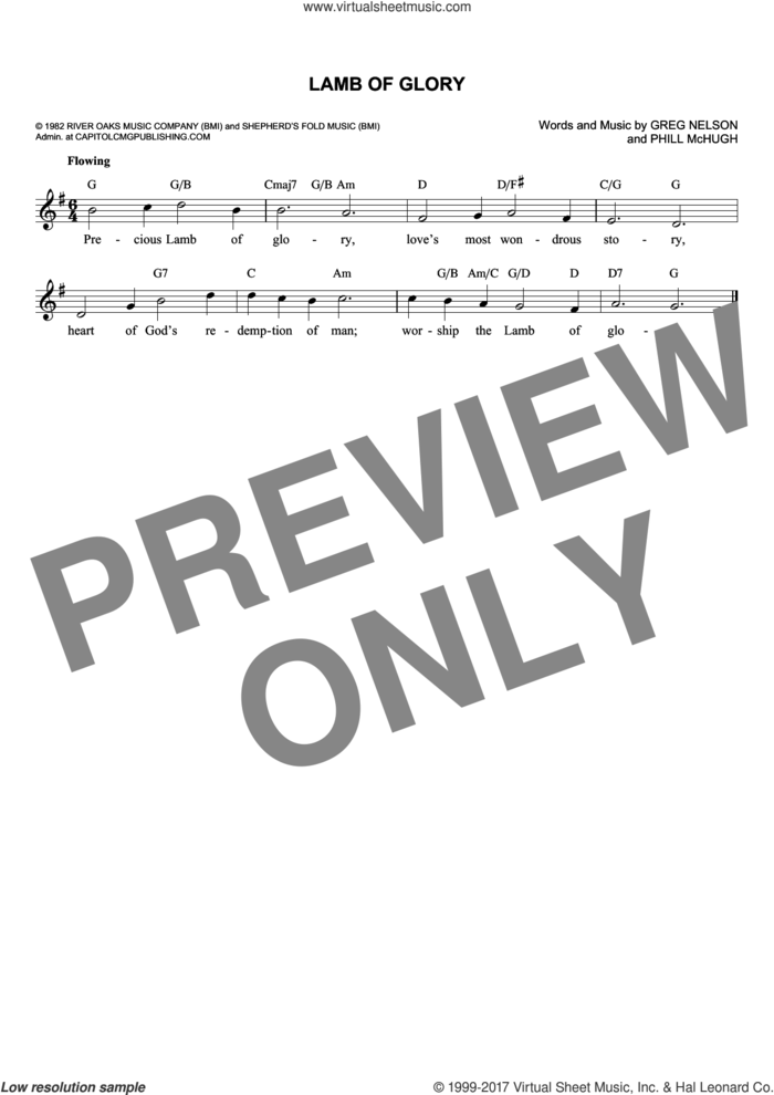 Lamb Of Glory sheet music for voice and other instruments (fake book) by Greg Nelson and Phill McHugh, intermediate skill level