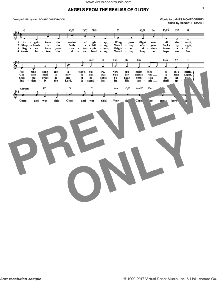 Angels From The Realms Of Glory sheet music for voice and other instruments (fake book) by James Montgomery and Henry T. Smart, intermediate skill level