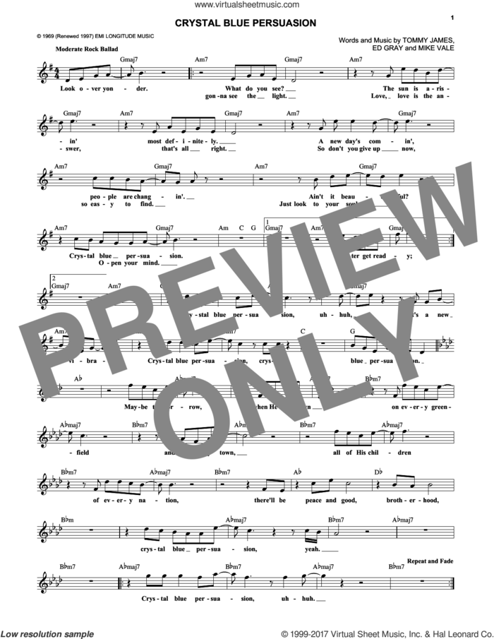 Crystal Blue Persuasion sheet music for voice and other instruments (fake book) by Tommy James & The Shondells, Ed Gray and Mike Vale, intermediate skill level