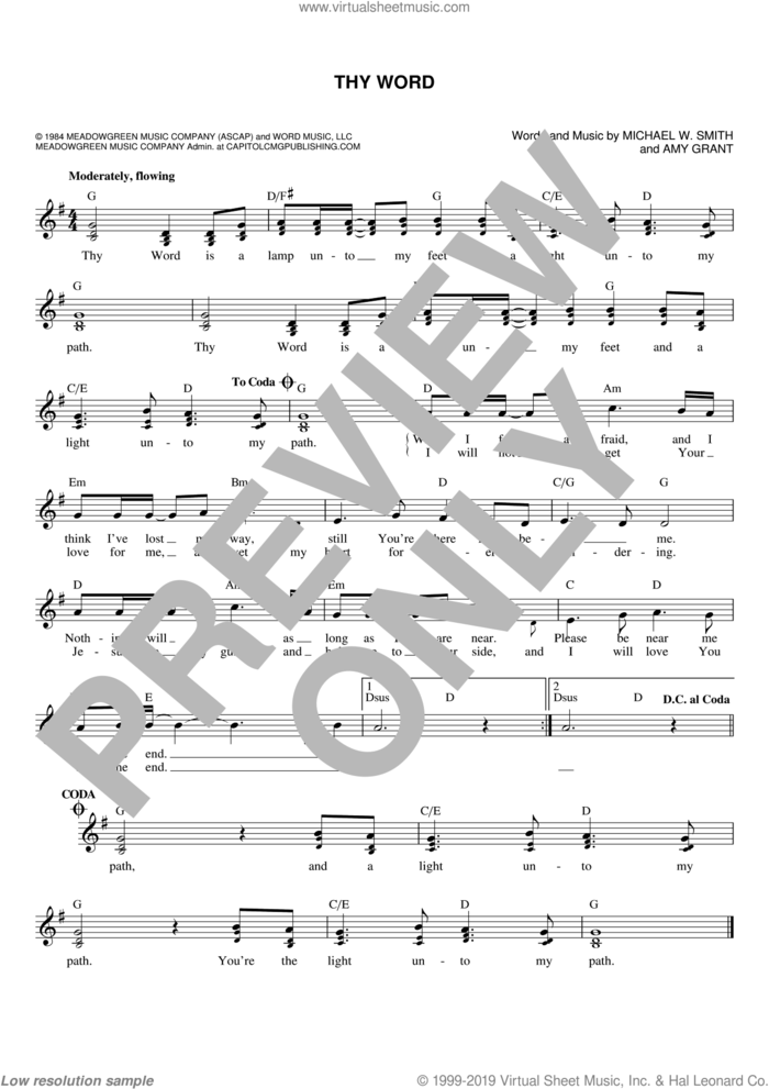Thy Word sheet music for voice and other instruments (fake book) by Ginny Owens, Amy Grant and Michael W. Smith, intermediate skill level