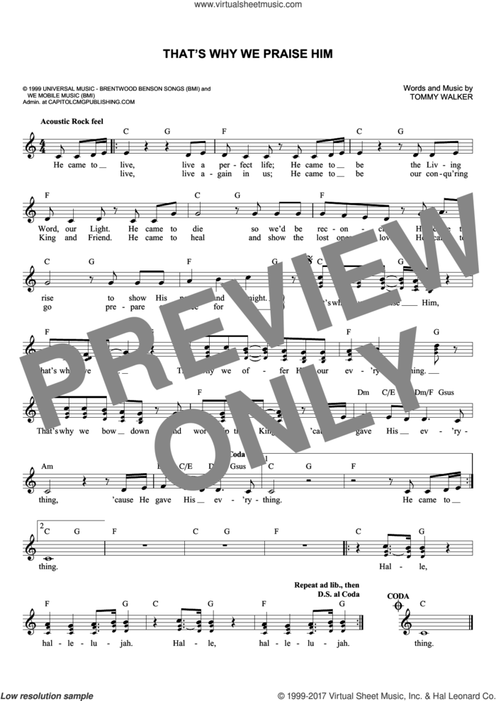 That's Why We Praise Him sheet music for voice and other instruments (fake book) by Tommy Walker, intermediate skill level