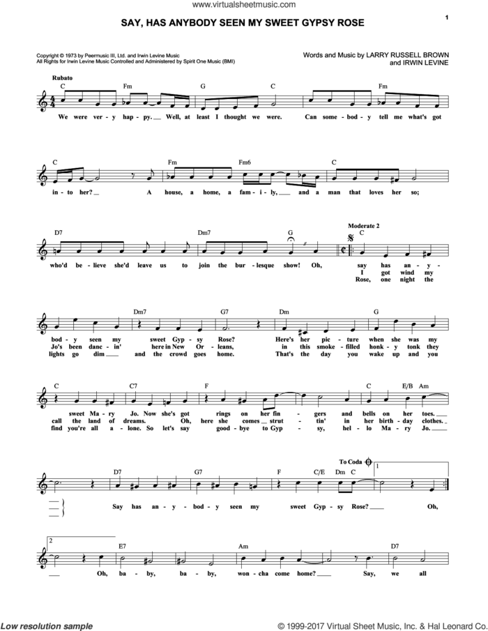 Say, Has Anybody Seen My Sweet Gypsy Rose sheet music for voice and other instruments (fake book) by Dawn, Irwin Levine and Larry Russell Brown, intermediate skill level