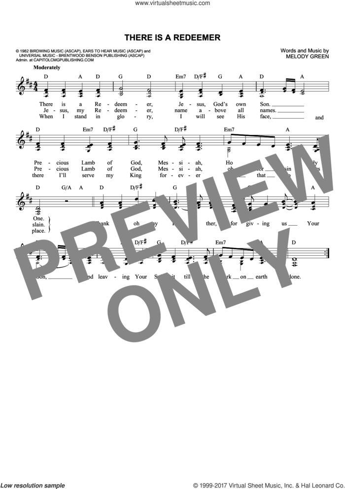 There Is A Redeemer sheet music for voice and other instruments (fake book) by Keith Green and Melody Green, intermediate skill level