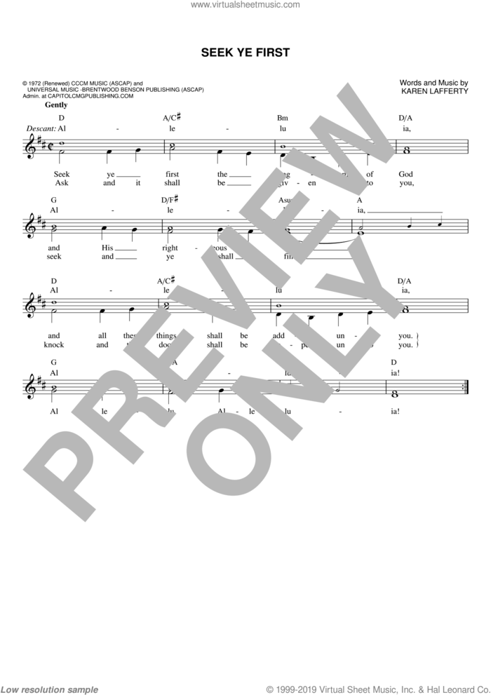 Seek Ye First sheet music for voice and other instruments (fake book) by Karen Lafferty, intermediate skill level