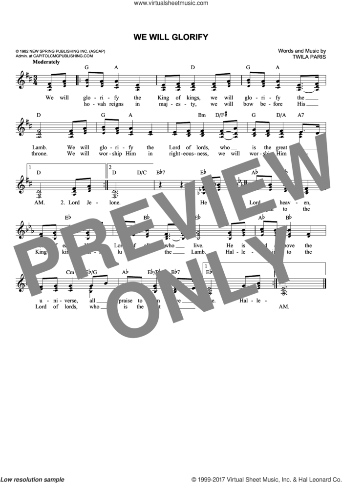 We Will Glorify sheet music for voice and other instruments (fake book) by Twila Paris, intermediate skill level