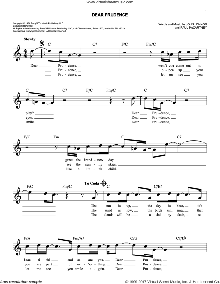 Dear Prudence sheet music for voice and other instruments (fake book) by The Beatles, John Lennon and Paul McCartney, intermediate skill level