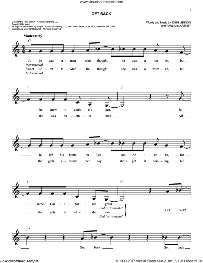 Get Back sheet music for voice and other instruments (fake book) by The Beatles, John Lennon and Paul McCartney, intermediate skill level