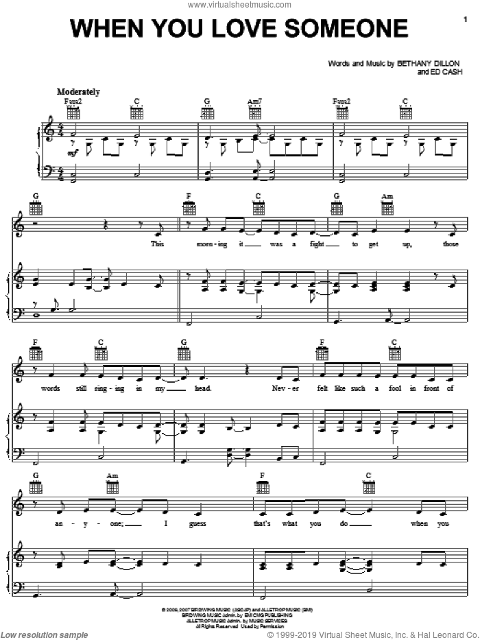When You Love Someone sheet music for voice, piano or guitar by Bethany Dillon, Bridge To Terabithia (Movie), Aaron Zigman and Ed Cash, intermediate skill level