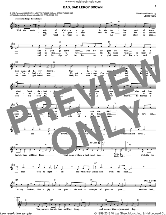 Bad, Bad Leroy Brown sheet music for voice and other instruments (fake book) by Jim Croce, intermediate skill level