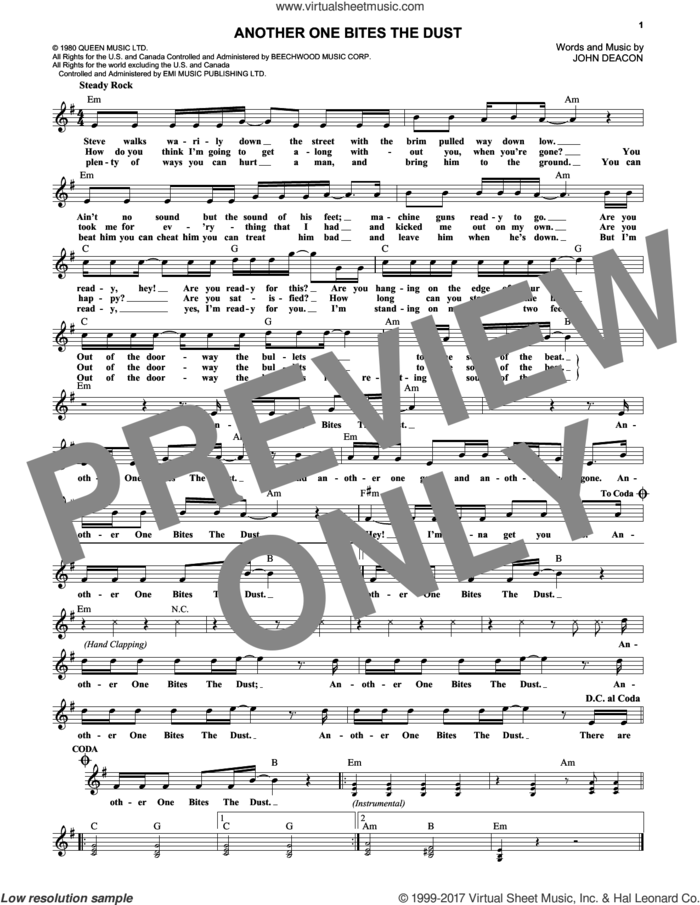 Another One Bites The Dust sheet music for voice and other instruments (fake book) by Queen and John Deacon, intermediate skill level