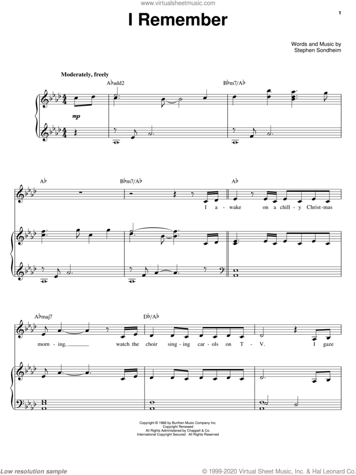 I Remember sheet music for voice, piano or guitar by Barbra Streisand and Stephen Sondheim, intermediate skill level