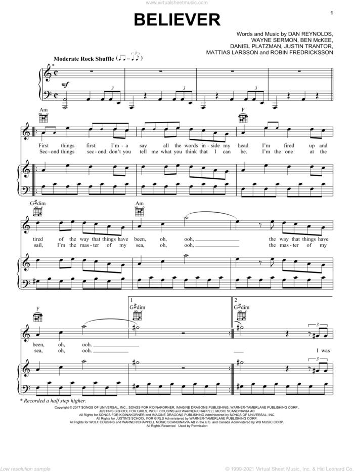 Believer sheet music for voice, piano or guitar by Imagine Dragons, Benjamin McKee, Daniel Platzman, Daniel Reynolds and Daniel Sermon, intermediate skill level