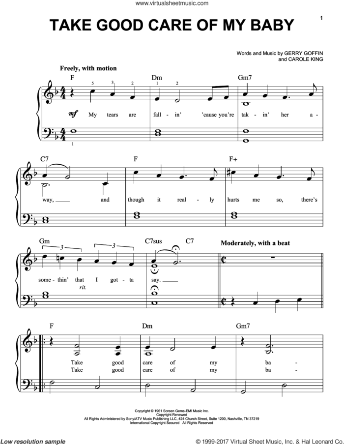 Take Good Care Of My Baby sheet music for piano solo by Carole King, Bobby Vee, Bobby Vinton and Gerry Goffin, easy skill level