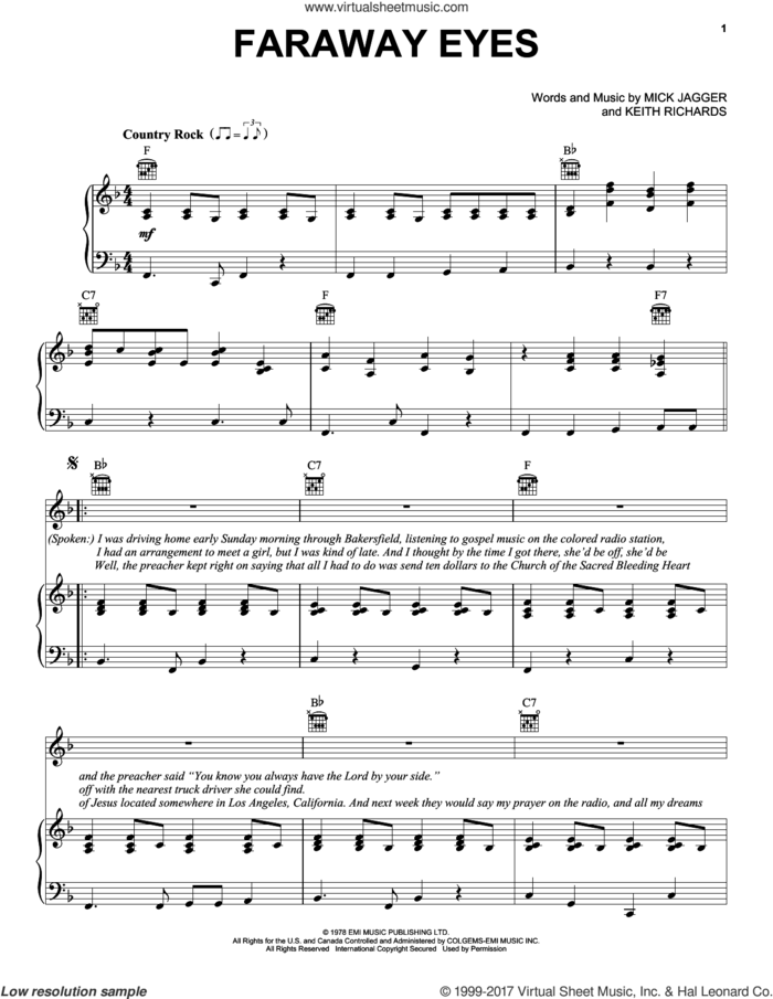 Faraway Eyes sheet music for voice, piano or guitar by The Rolling Stones, Keith Richards and Mick Jagger, intermediate skill level