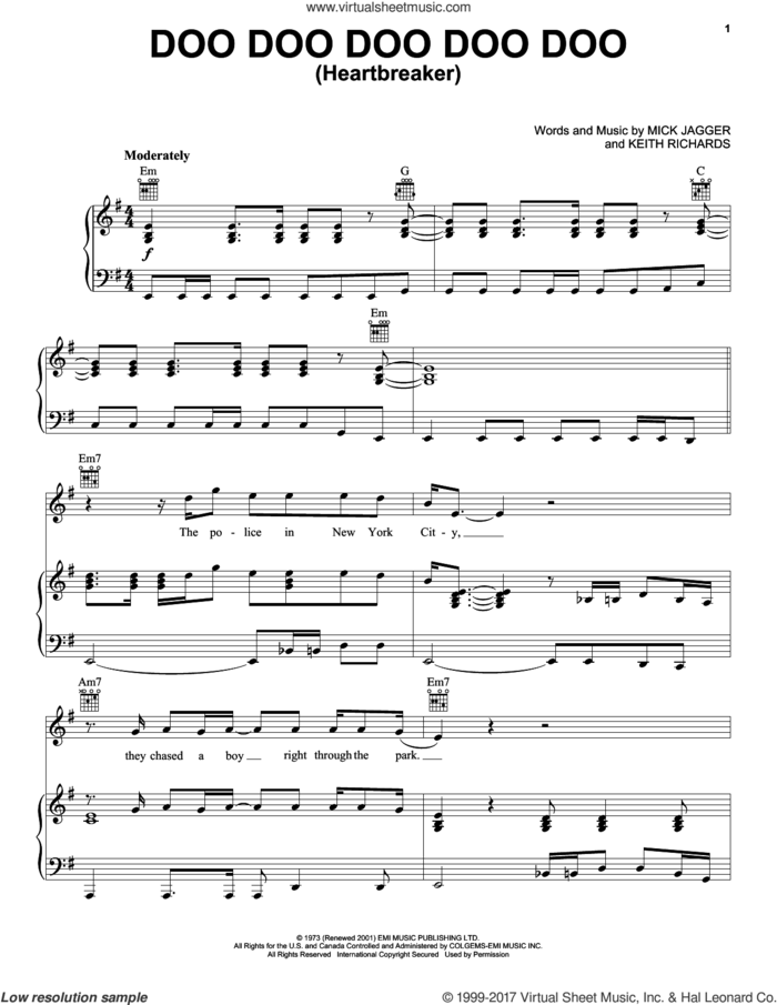 Doo Doo Doo Doo Doo (Heartbreaker) sheet music for voice, piano or guitar by The Rolling Stones, Keith Richards and Mick Jagger, intermediate skill level