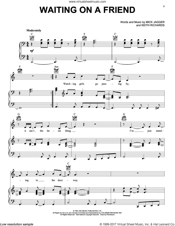 Waiting On A Friend sheet music for voice, piano or guitar by The Rolling Stones, Keith Richards and Mick Jagger, intermediate skill level