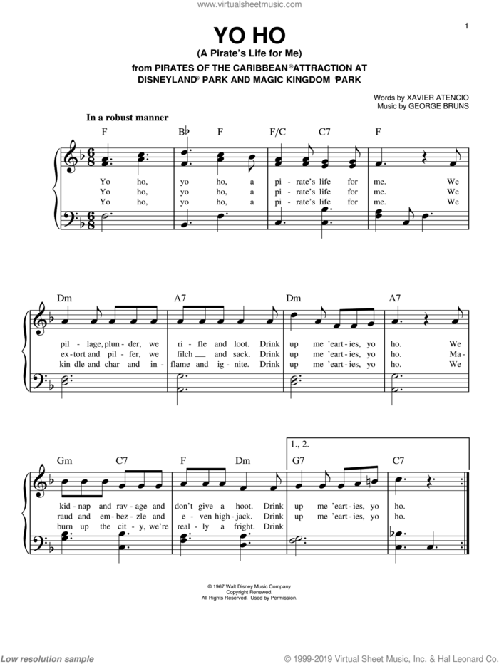 Yo Ho (A Pirate's Life For Me) sheet music for piano solo by Xavier Atencio and George Bruns, easy skill level