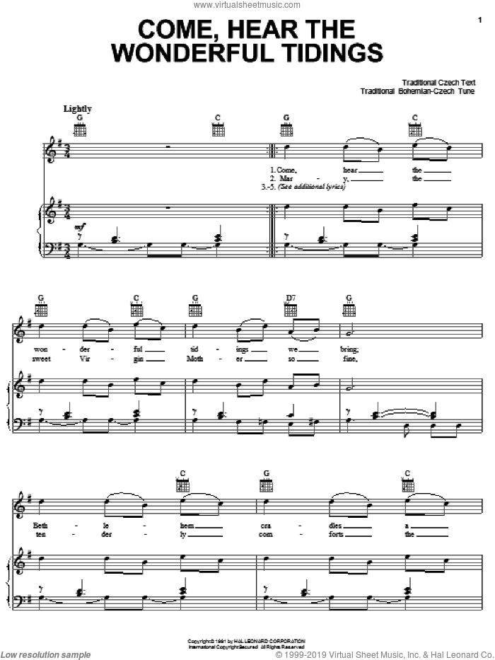 Come, Hear The Wonderful Tidings sheet music for voice, piano or guitar, intermediate skill level