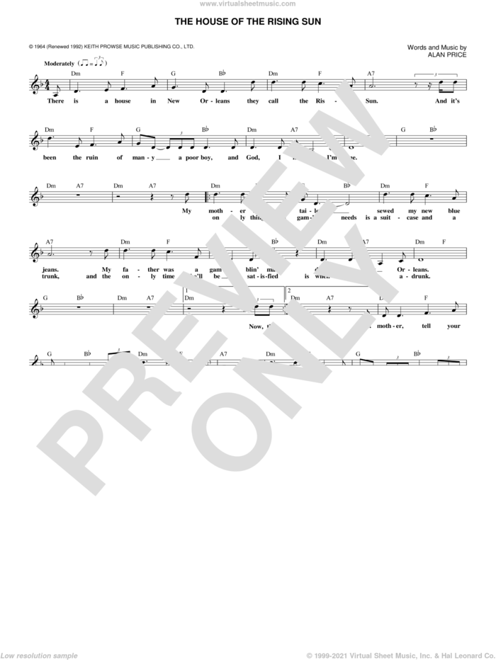 The House Of The Rising Sun sheet music for voice and other instruments (fake book) by The Animals and Alan Price, intermediate skill level