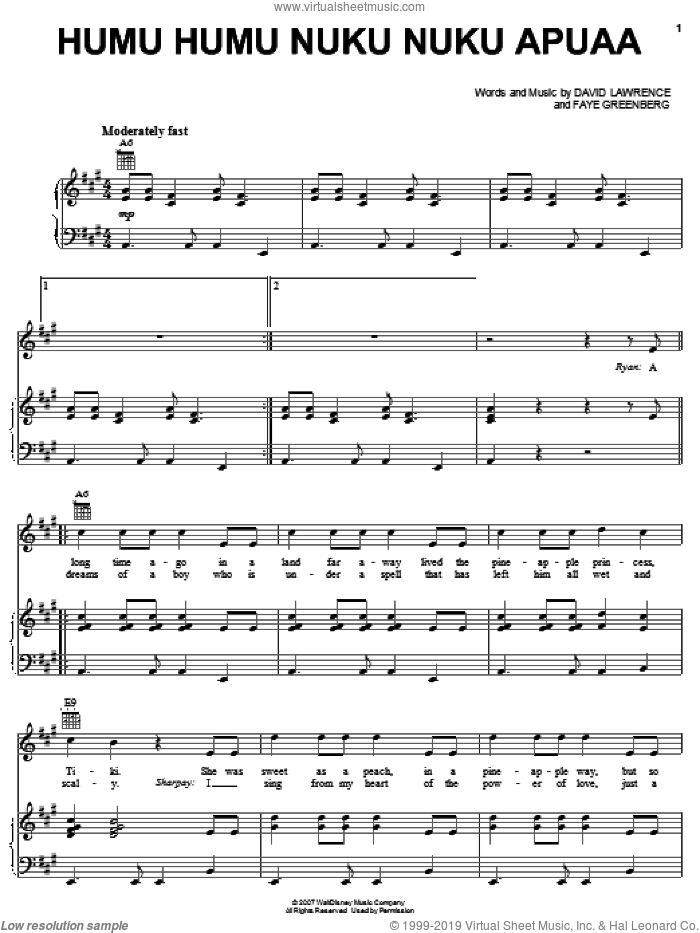 Humu Humu Nuku Nuku Apuaa sheet music for voice, piano or guitar by High School Musical 2, David Lawrence and Faye Greenberg, intermediate skill level