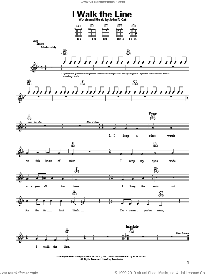 I Walk The Line sheet music for guitar solo (chords) by Johnny Cash, easy guitar (chords)