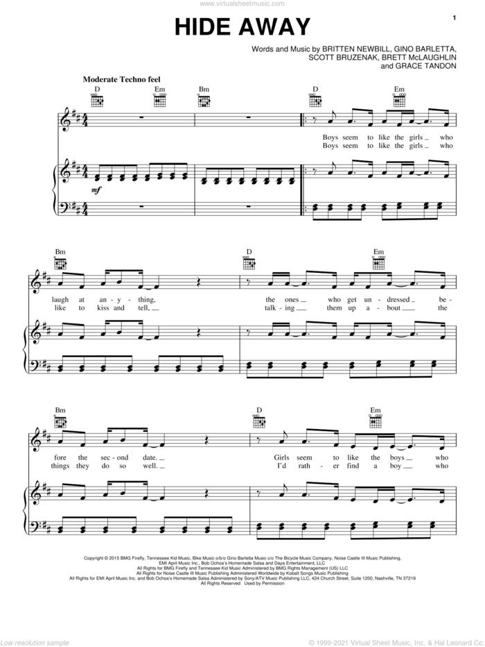 Hide Away sheet music for voice, piano or guitar by Daya, Brett McLaughlin, Britten Newbill, Gino Barletta, Grace Tandon and Scott Bruzenak, intermediate skill level