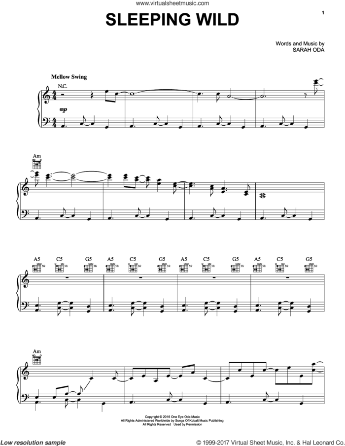Sleeping Wild sheet music for voice, piano or guitar by Norah Jones and Sarah Oda, intermediate skill level