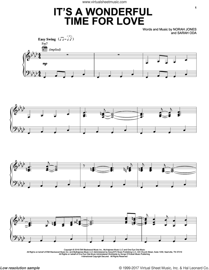 It's A Wonderful Time For Love sheet music for voice, piano or guitar by Norah Jones and Sarah Oda, intermediate skill level