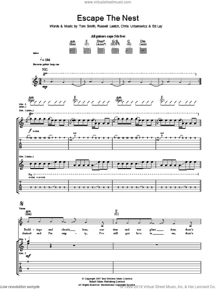 Escape The Nest sheet music for guitar (tablature) by Editors, Chris Urbanowicz, Ed Lay, Russell Leetch and Tom Smith, intermediate skill level