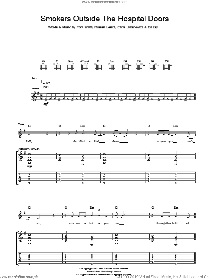 Smokers Outside The Hospital Doors sheet music for guitar (tablature) by Editors, Chris Urbanowicz, Ed Lay, Russell Leetch and Tom Smith, intermediate skill level
