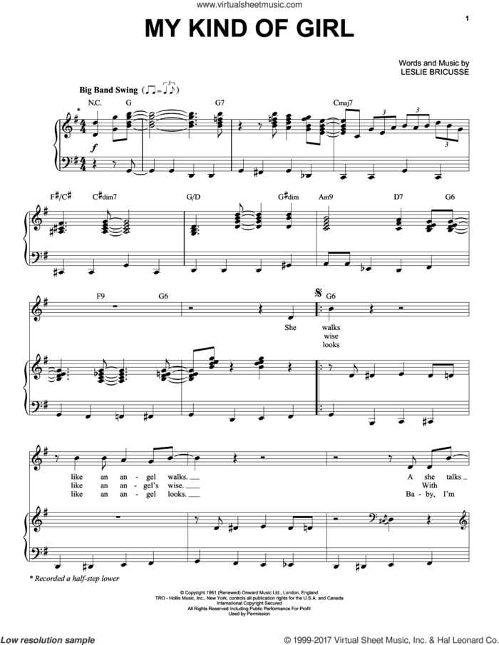 My Kind Of Girl sheet music for voice and piano by Michael Buble and Leslie Bricusse, intermediate skill level