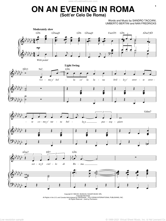 On An Evening In Roma (Sotter Celo De Roma) sheet music for voice and piano by Michael Buble, Dean Martin, Nan Fredricks, Sandro Taccani and Umberto Bertini, intermediate skill level
