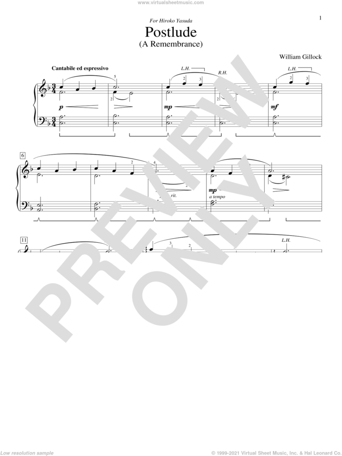 Postlude (A Remembrance) sheet music for piano solo (elementary) by William Gillock, beginner piano (elementary)