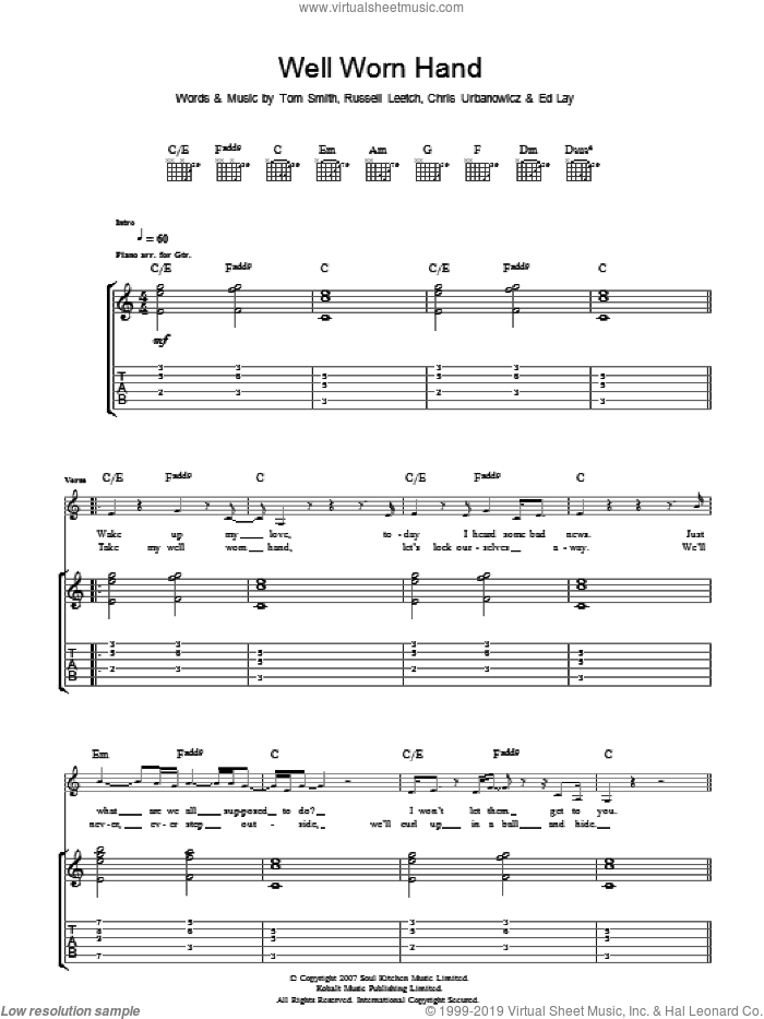 Well Worn Hand sheet music for guitar (tablature) by Editors, Chris Urbanowicz, Ed Lay, Russell Leetch and Tom Smith, intermediate skill level