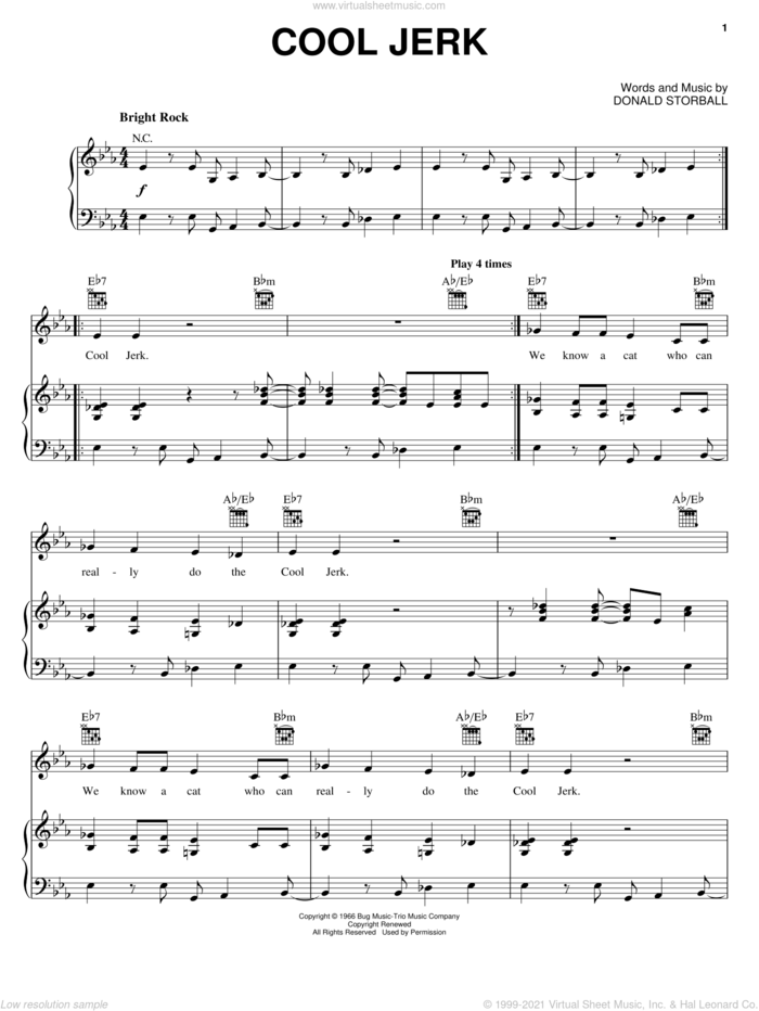 Cool Jerk sheet music for voice, piano or guitar by The Capitols and Donald Storball, intermediate skill level