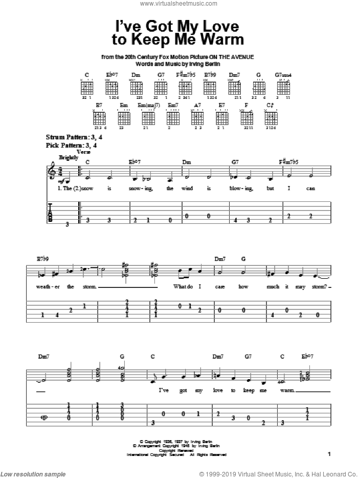 I've Got My Love To Keep Me Warm sheet music for guitar solo (easy tablature) by Irving Berlin, easy guitar (easy tablature)