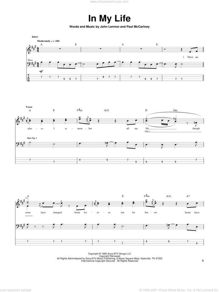 In My Life sheet music for bass (tablature) (bass guitar) by The Beatles, John Lennon and Paul McCartney, wedding score, intermediate skill level