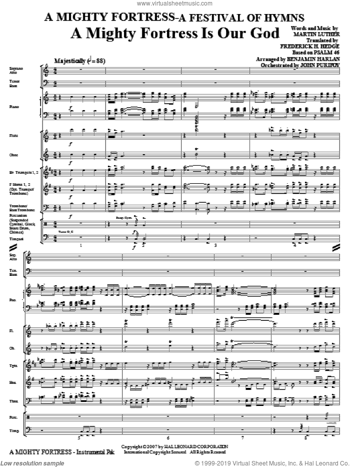 A Mighty Fortress, a festival of hymns sheet music for orchestra/band (full score) by Benjamin Harlan, Henry F. Lyte, John Purifoy, Mark Hill and William Henry Monk, intermediate skill level