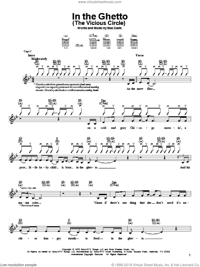 In The Ghetto (The Vicious Circle) sheet music for guitar solo (chords) by Elvis Presley and Mac Davis, easy guitar (chords)