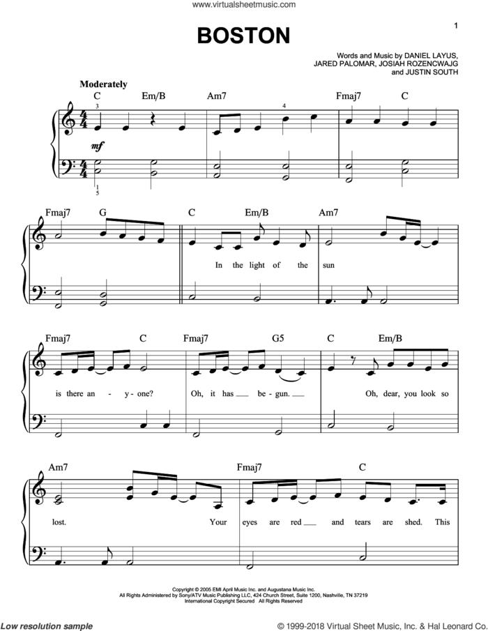 Boston sheet music for piano solo by Augustana, Daniel Layus, Jared Palomar, Josiah Rozencwajg and Justin South, easy skill level