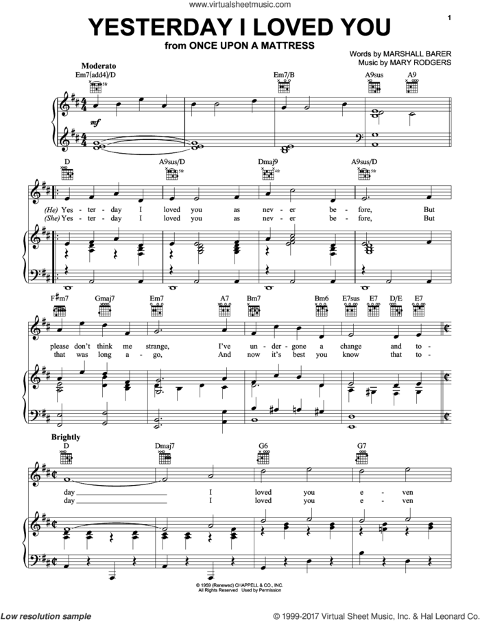 Yesterday I Loved You sheet music for voice, piano or guitar by Rodgers & Barer, Marshall Barer and Mary Rodgers, intermediate skill level