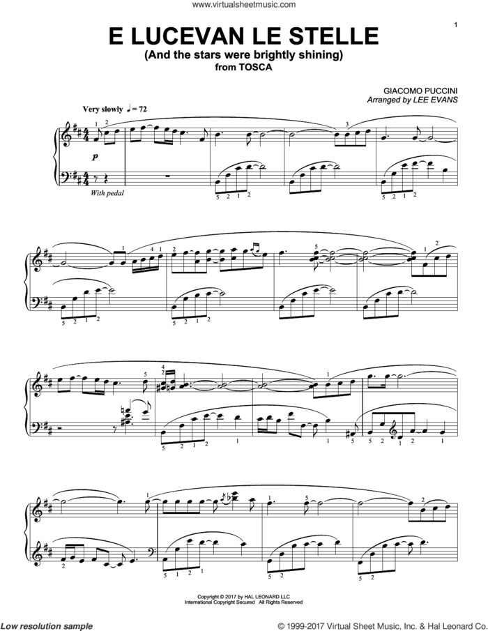 E lucevan le stelle from Tosca (arr. Lee Evans) sheet music for piano solo by Giacomo Puccini and Lee Evans, classical score, intermediate skill level